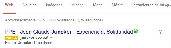 Juncker publicidad campaña Google AdWords