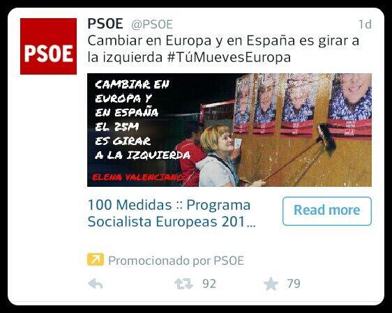 PSOE publicidad twitter europeas
