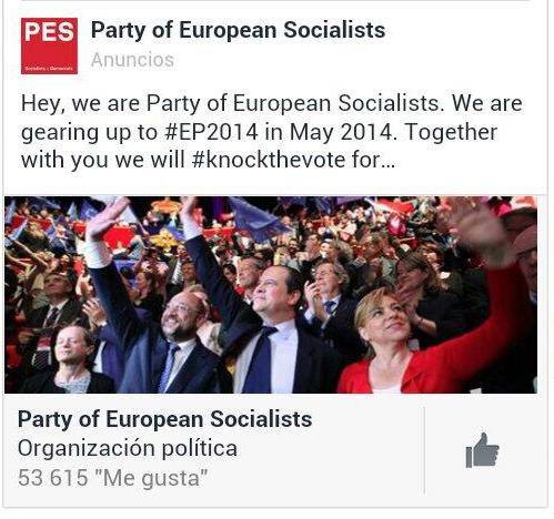 Socialistas Europeos publicidad Facebook